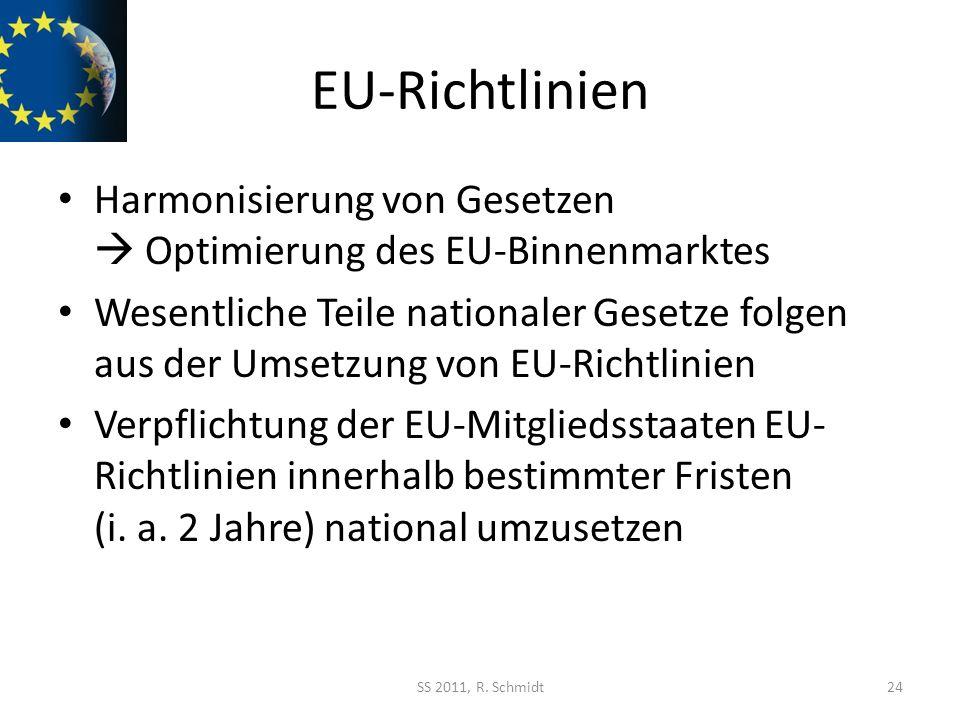EU-Richtlinien Harmonisierung von Gesetzen  Optimierung des EU-Binnenmarktes.