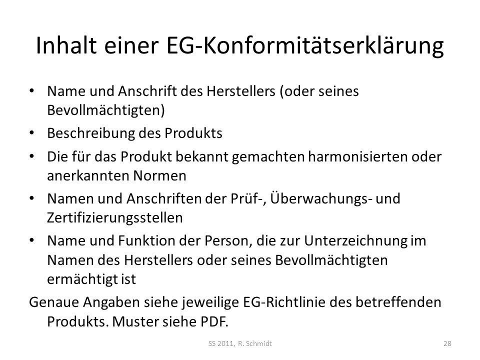 Inhalt einer EG-Konformitätserklärung