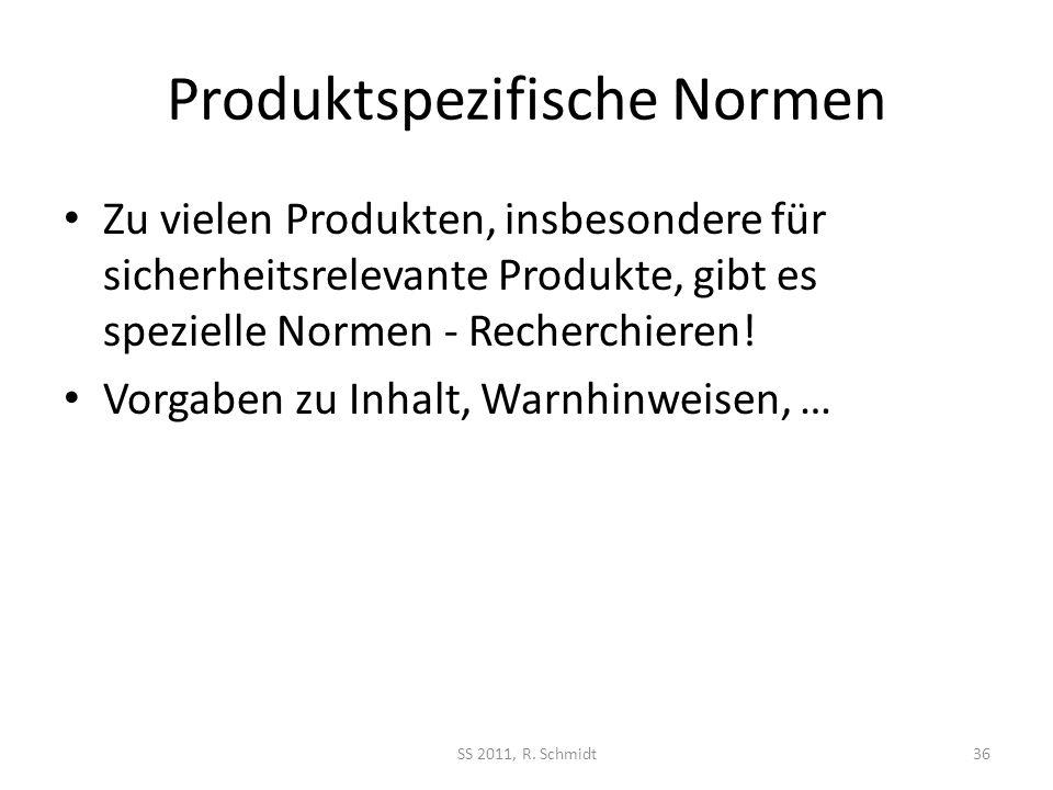 Produktspezifische Normen