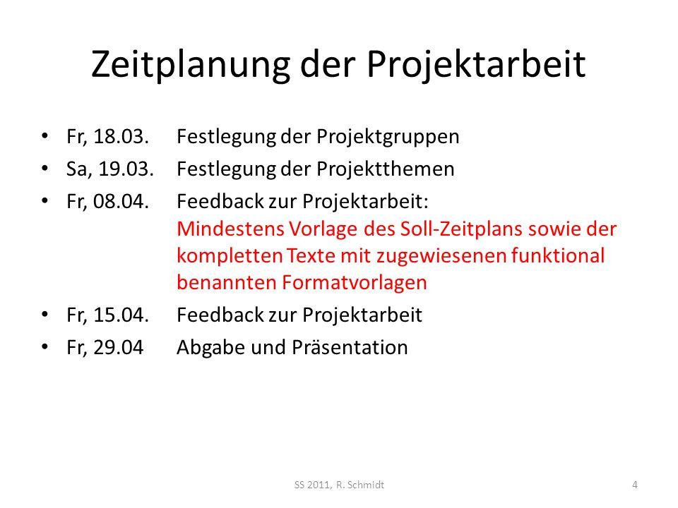 Zeitplanung der Projektarbeit