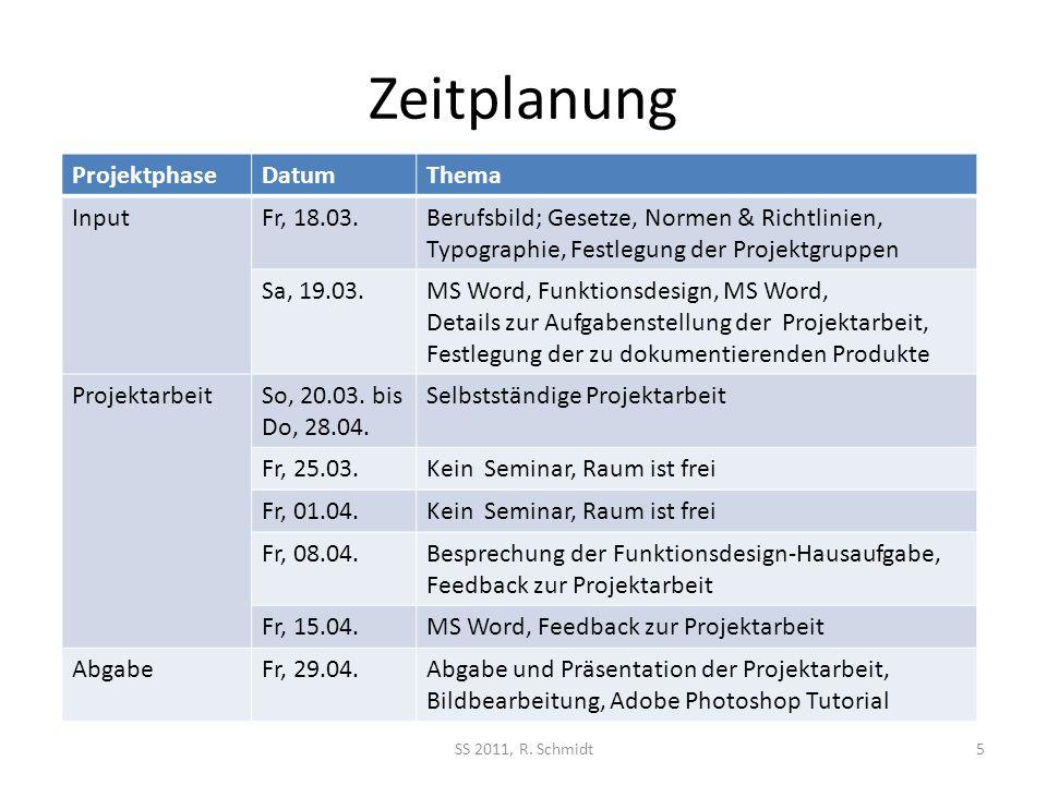 Zeitplanung Projektphase Datum Thema Input Fr, 18.03.