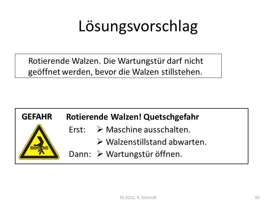 Lösungsvorschlag Rotierende Walzen. Die Wartungstür darf nicht geöffnet werden, bevor die Walzen stillstehen.