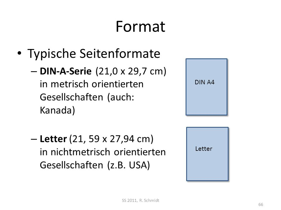 Format Typische Seitenformate