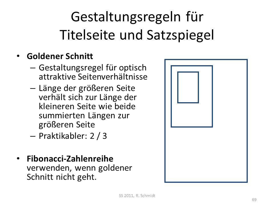 Gestaltungsregeln für Titelseite und Satzspiegel