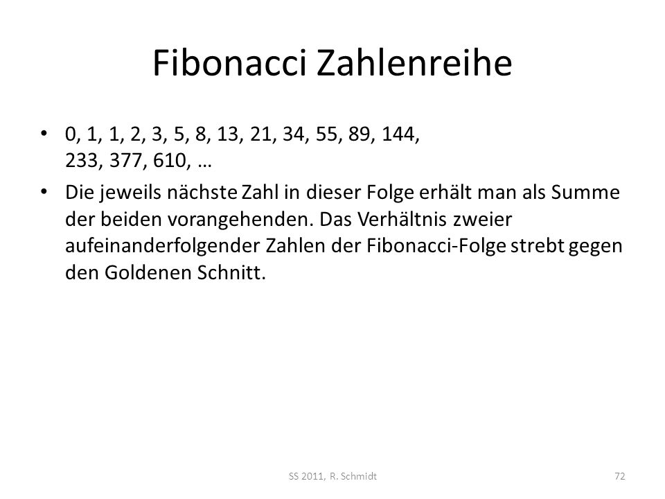 Fibonacci Zahlenreihe