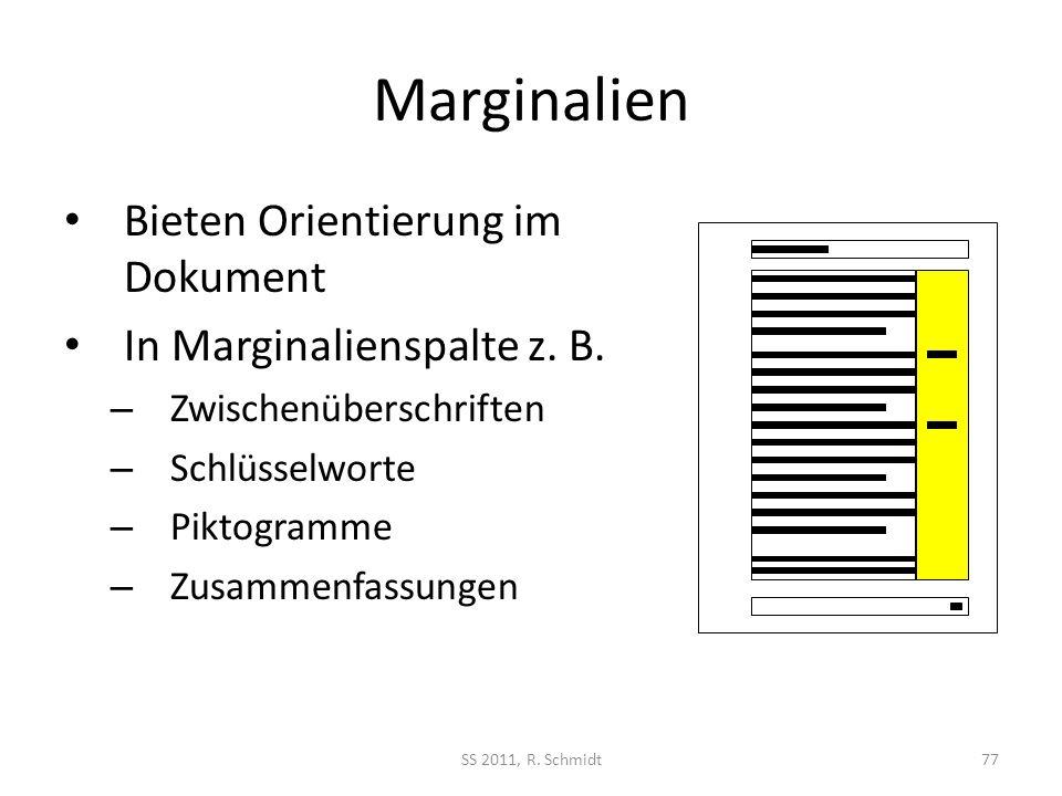 Marginalien Bieten Orientierung im Dokument In Marginalienspalte z. B.