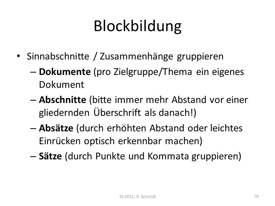 Blockbildung Sinnabschnitte / Zusammenhänge gruppieren