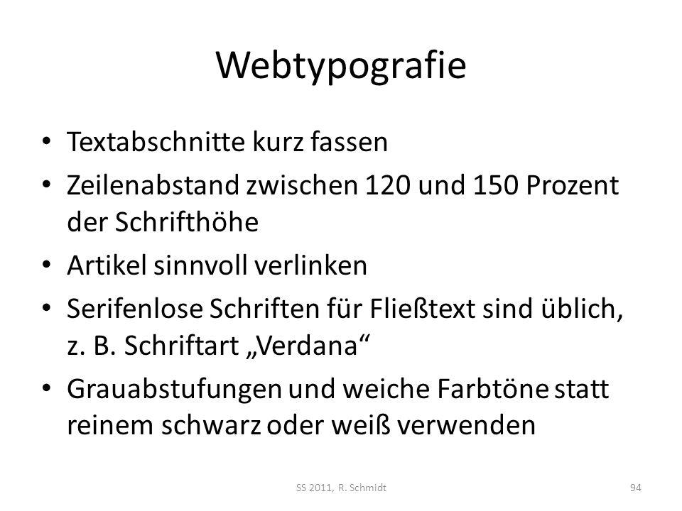 Webtypografie Textabschnitte kurz fassen