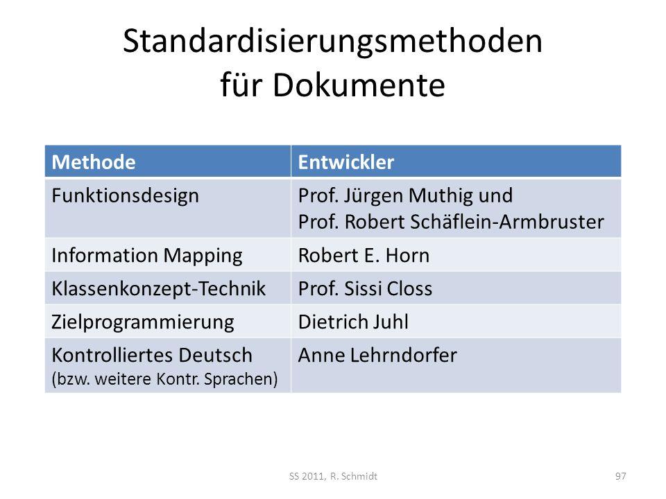 Standardisierungsmethoden für Dokumente