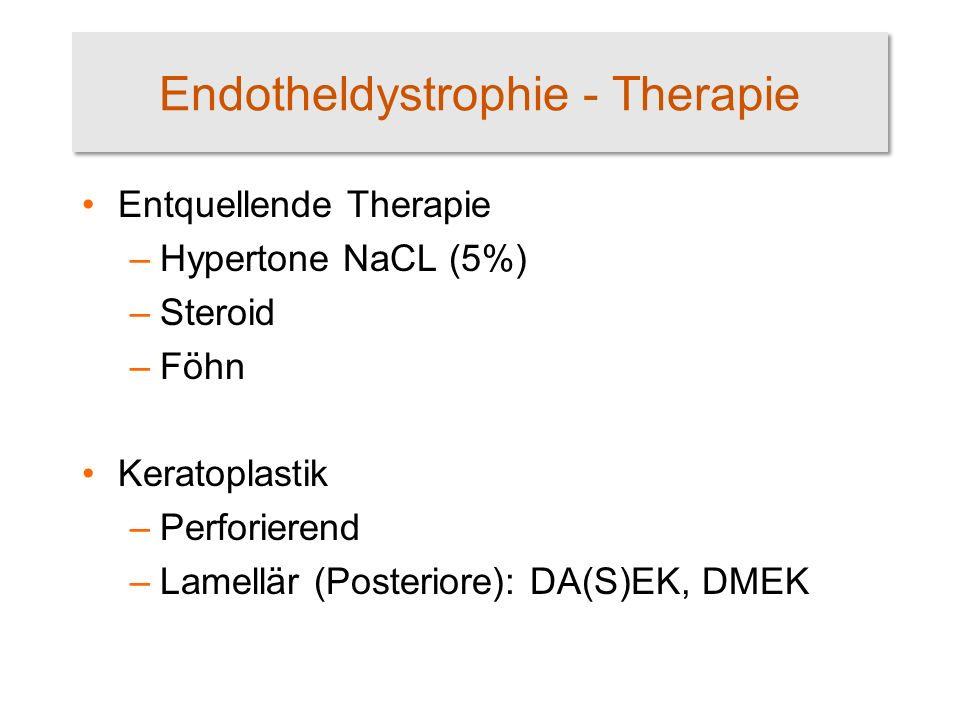 Endotheldystrophie - Therapie