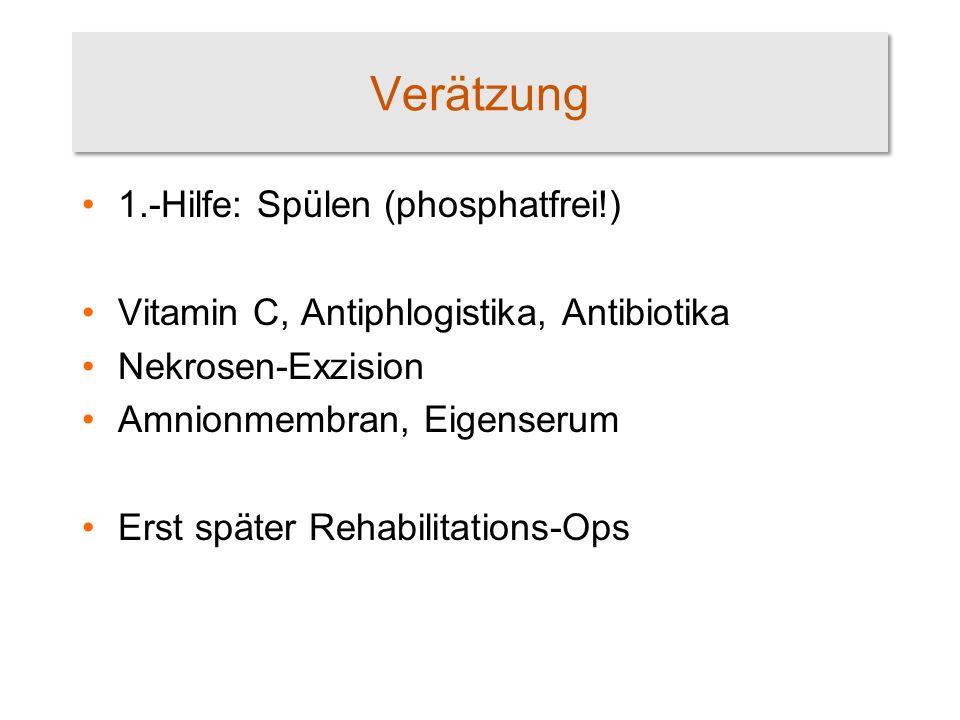 Verätzung 1.-Hilfe: Spülen (phosphatfrei!)