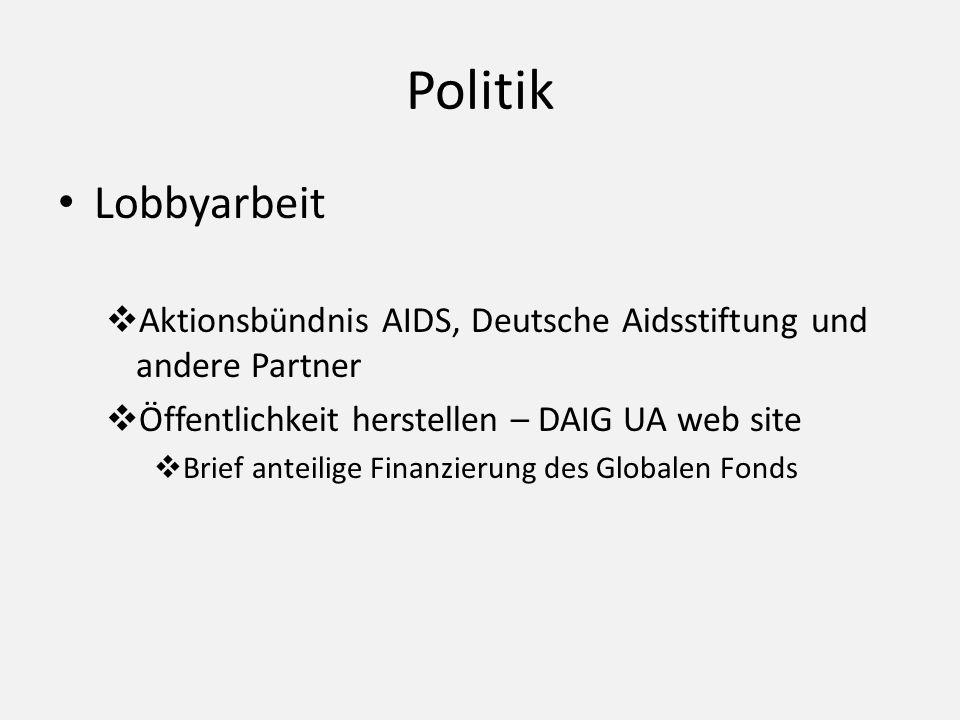 Politik Lobbyarbeit. Aktionsbündnis AIDS, Deutsche Aidsstiftung und andere Partner. Öffentlichkeit herstellen – DAIG UA web site.
