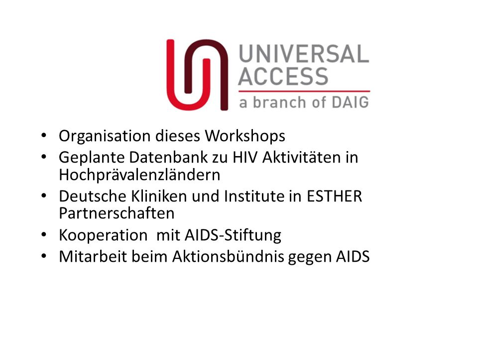 Organisation dieses Workshops