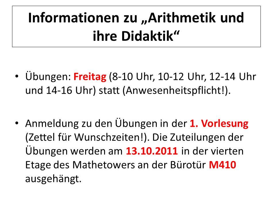 """Informationen zu """"Arithmetik und ihre Didaktik"""