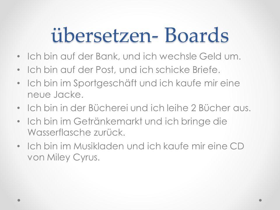 übersetzen- Boards Ich bin auf der Bank, und ich wechsle Geld um.
