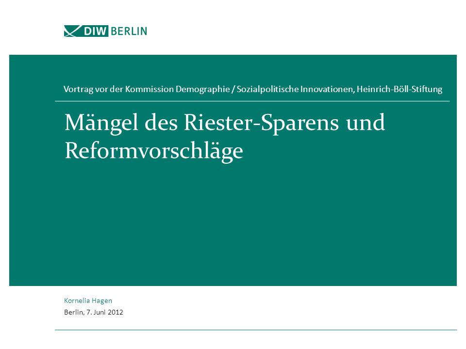 Mängel des Riester-Sparens und Reformvorschläge