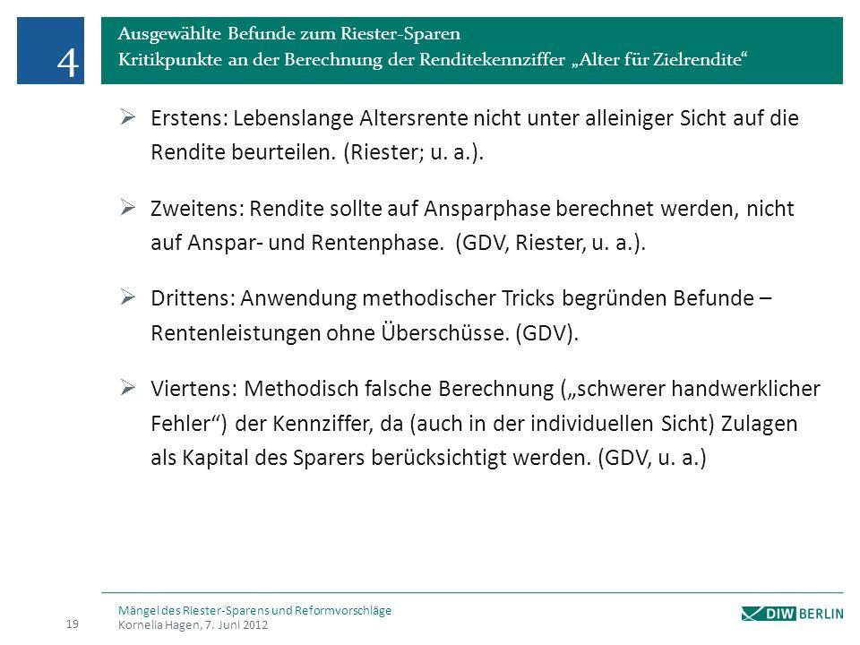 """4 Ausgewählte Befunde zum Riester-Sparen. Kritikpunkte an der Berechnung der Renditekennziffer """"Alter für Zielrendite"""