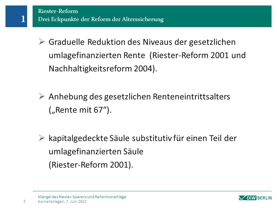 1 Riester-Reform. Drei Eckpunkte der Reform der Alterssicherung.