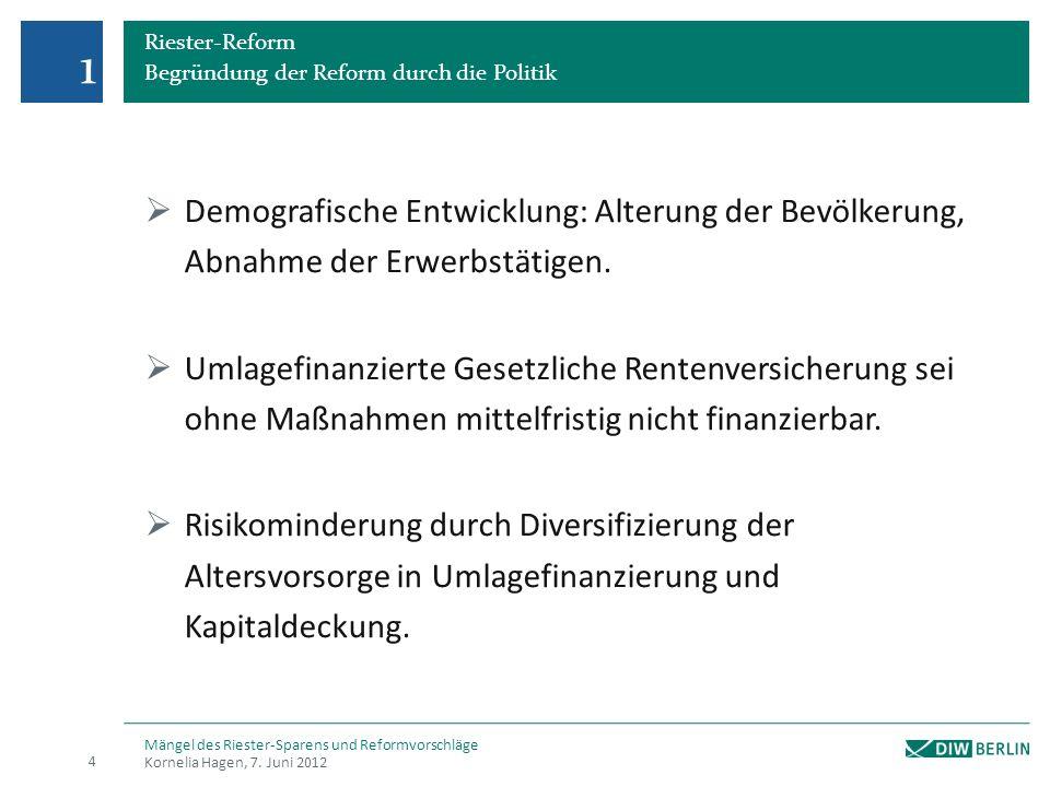 1 Riester-Reform. Begründung der Reform durch die Politik. Demografische Entwicklung: Alterung der Bevölkerung, Abnahme der Erwerbstätigen.