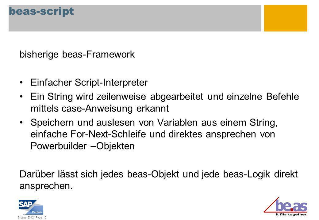 beas-script bisherige beas-Framework Einfacher Script-Interpreter