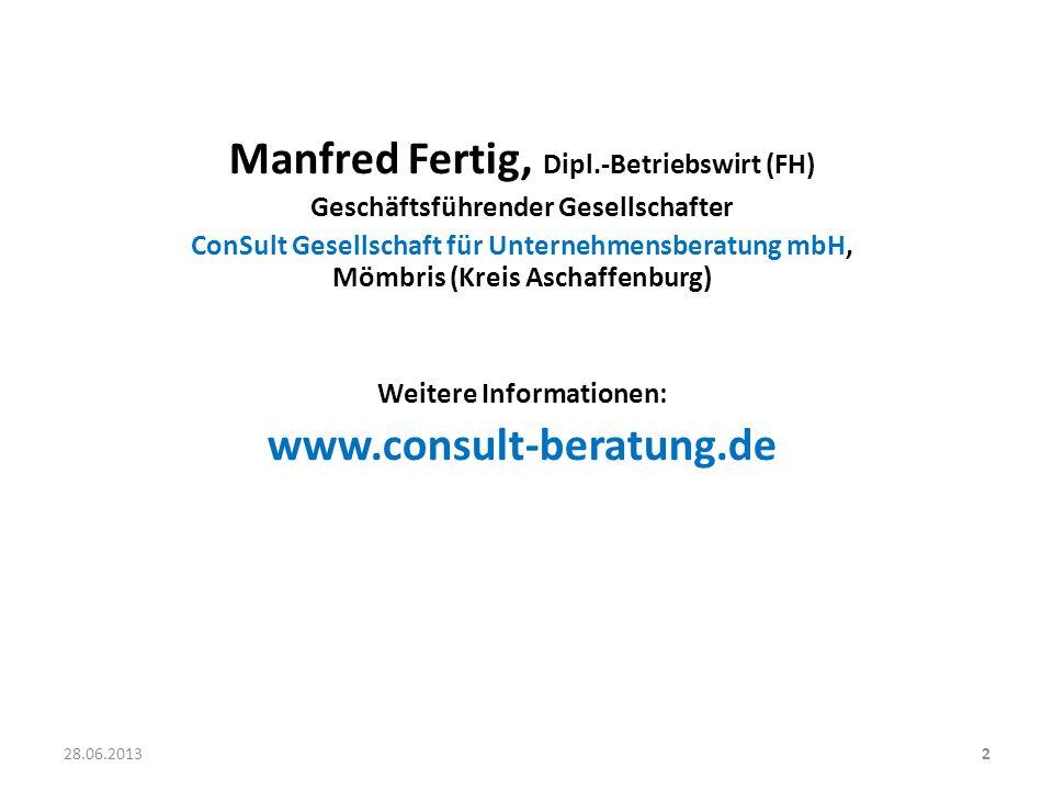 Manfred Fertig, Dipl.-Betriebswirt (FH) www.consult-beratung.de