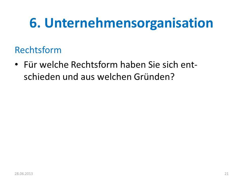 6. Unternehmensorganisation