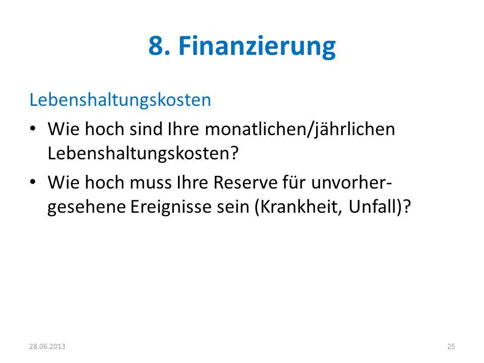 8. Finanzierung Lebenshaltungskosten