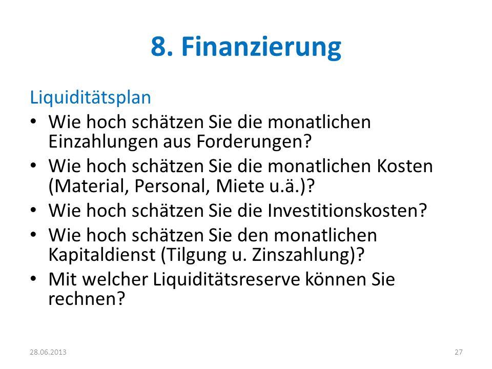 8. Finanzierung Liquiditätsplan