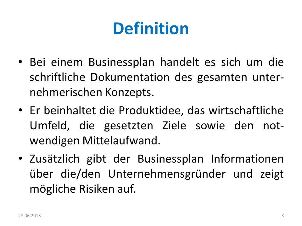 Definition Bei einem Businessplan handelt es sich um die schriftliche Dokumentation des gesamten unter-nehmerischen Konzepts.