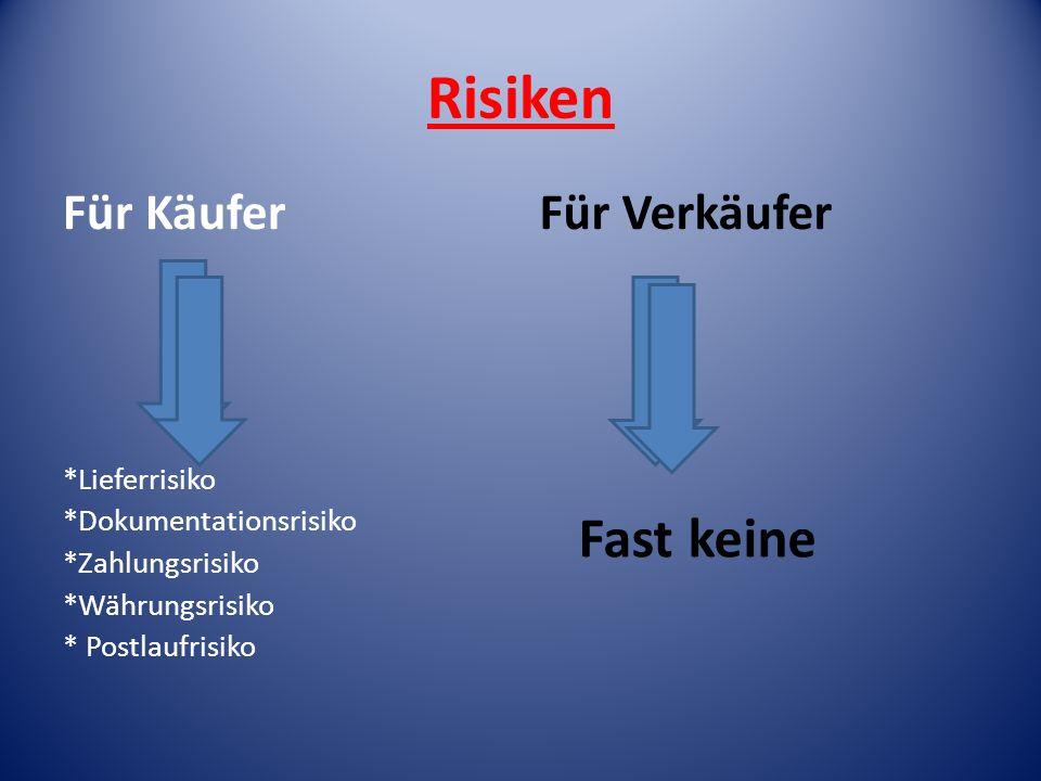Risiken Fast keine Für Käufer Für Verkäufer *Lieferrisiko