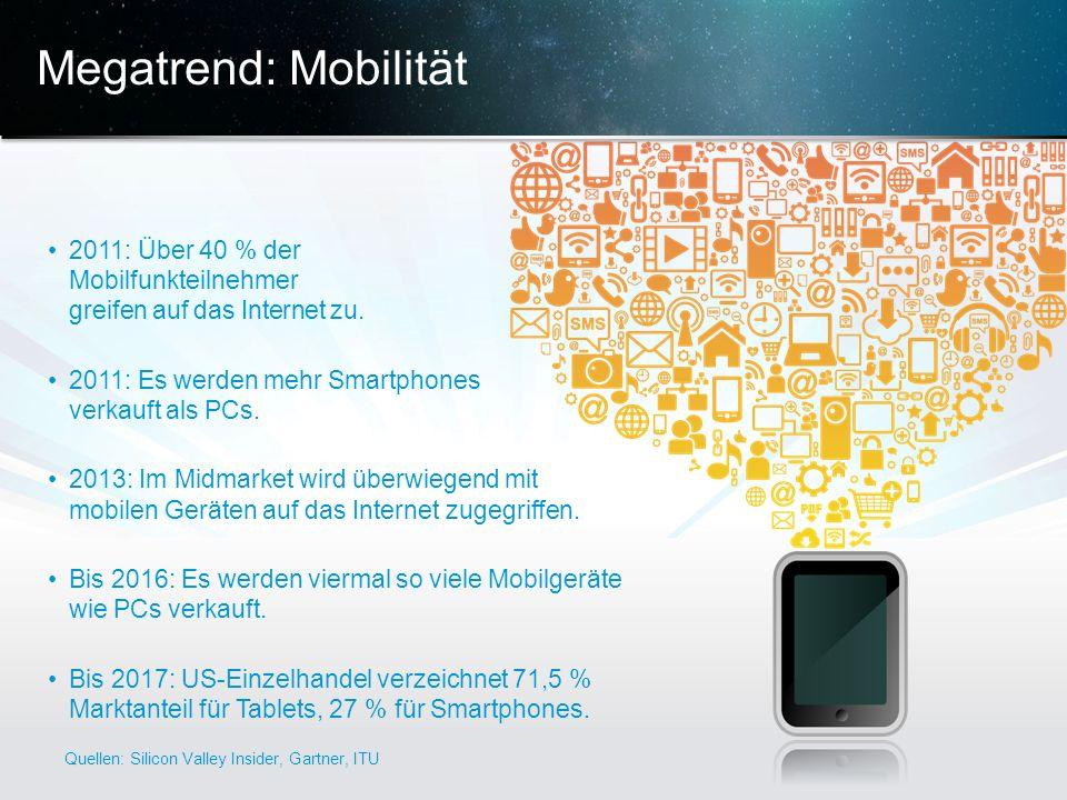 Megatrend: Mobilität 2011: Über 40 % der Mobilfunkteilnehmer greifen auf das Internet zu. 2011: Es werden mehr Smartphones verkauft als PCs.