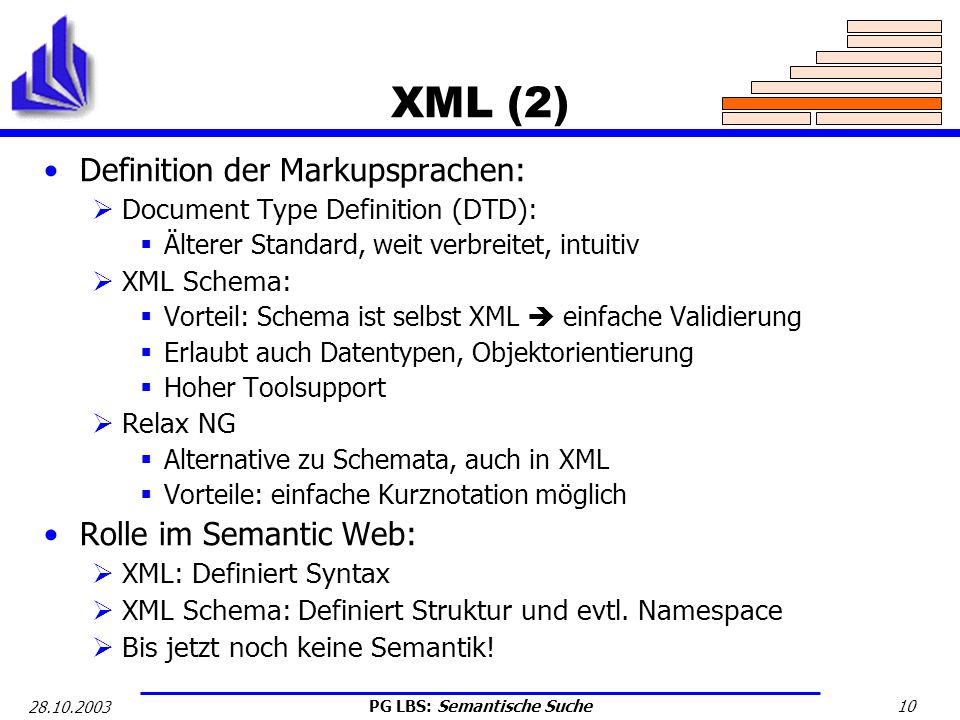 XML (2) Definition der Markupsprachen: Rolle im Semantic Web: