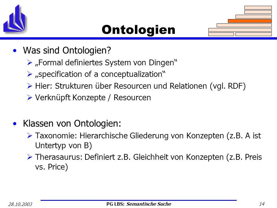 Ontologien Was sind Ontologien Klassen von Ontologien: