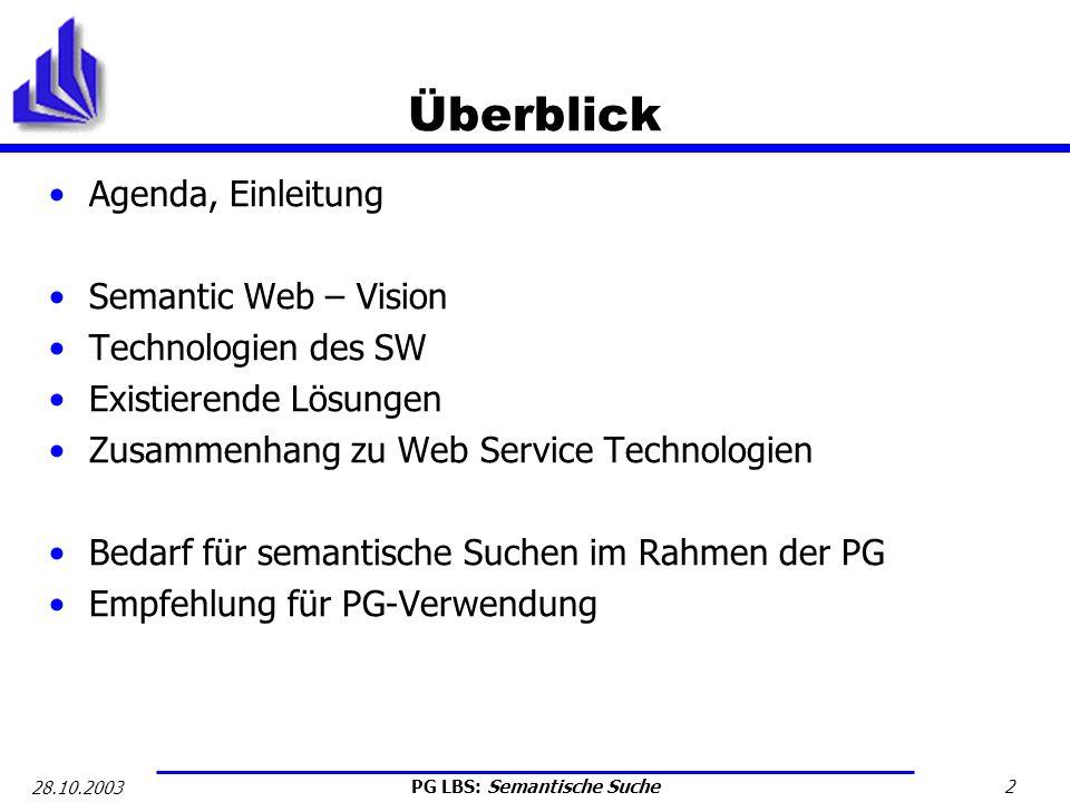 Überblick Agenda, Einleitung Semantic Web – Vision Technologien des SW