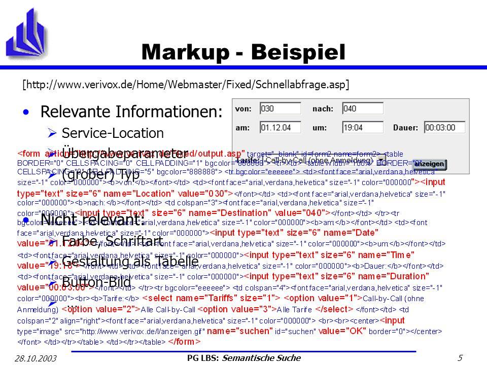 Markup - Beispiel Relevante Informationen: Nicht relevant: