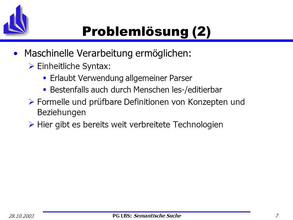 Problemlösung (2) Maschinelle Verarbeitung ermöglichen:
