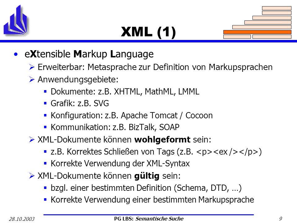 XML (1) eXtensible Markup Language