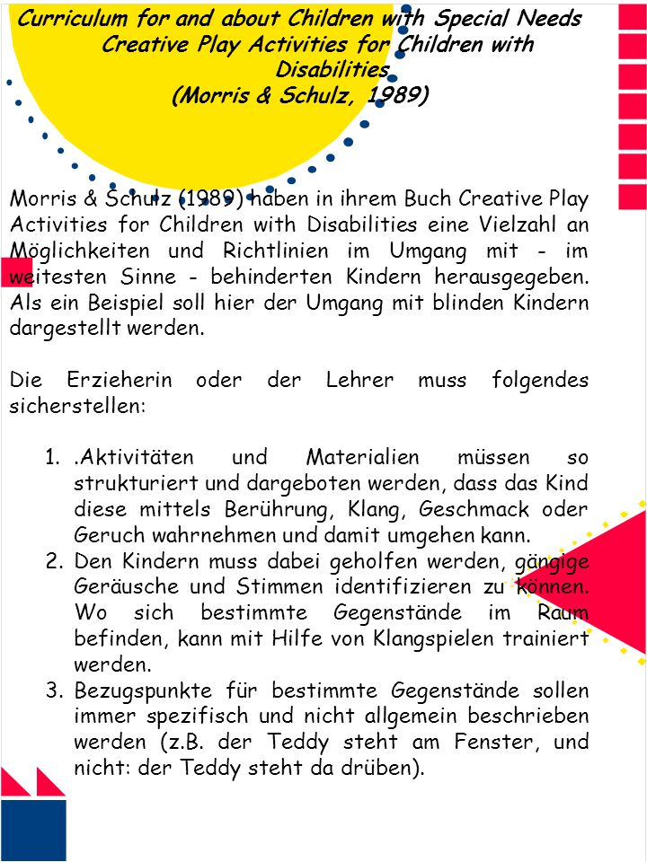Curriculum for and about Children with Special Needs