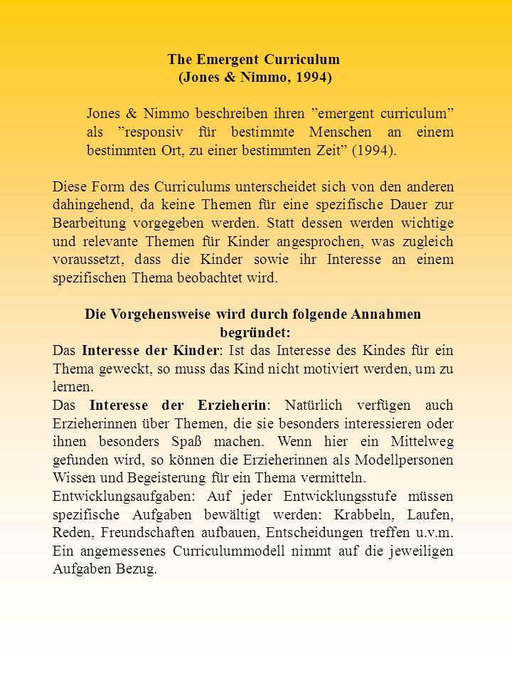 The Emergent Curriculum (Jones & Nimmo, 1994)