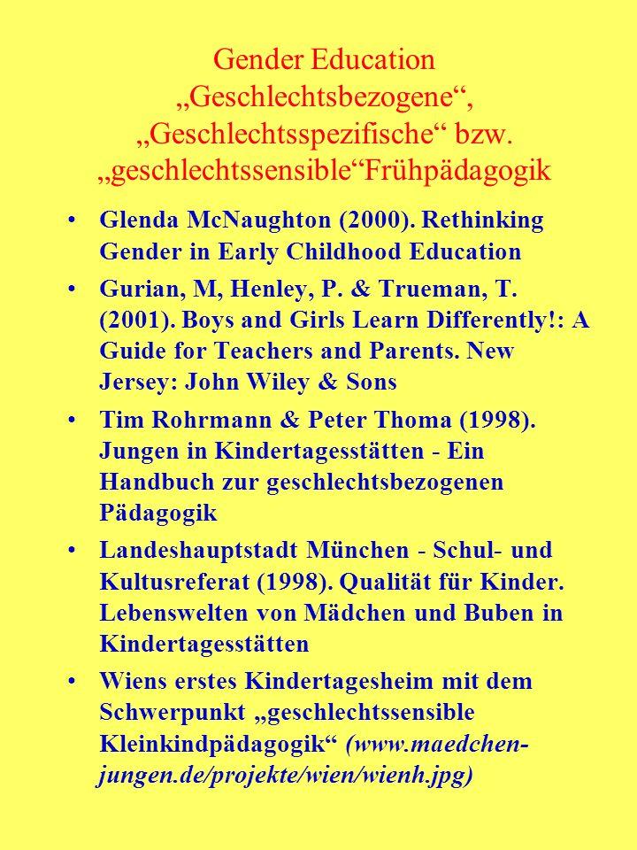 "Gender Education ""Geschlechtsbezogene , ""Geschlechtsspezifische bzw"