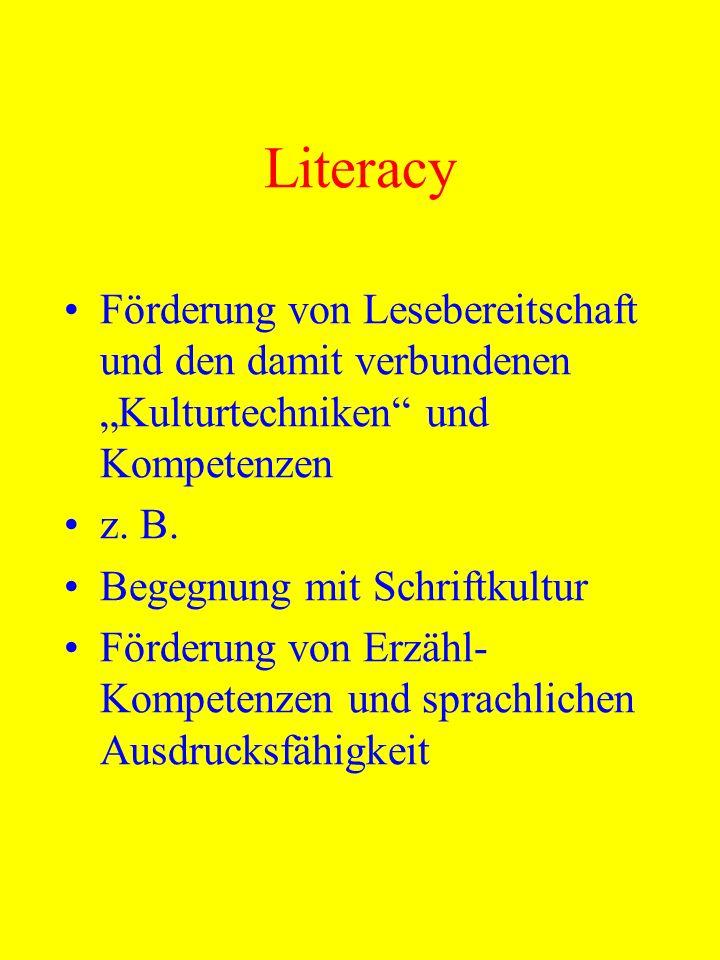 """Literacy Förderung von Lesebereitschaft und den damit verbundenen """"Kulturtechniken und Kompetenzen."""