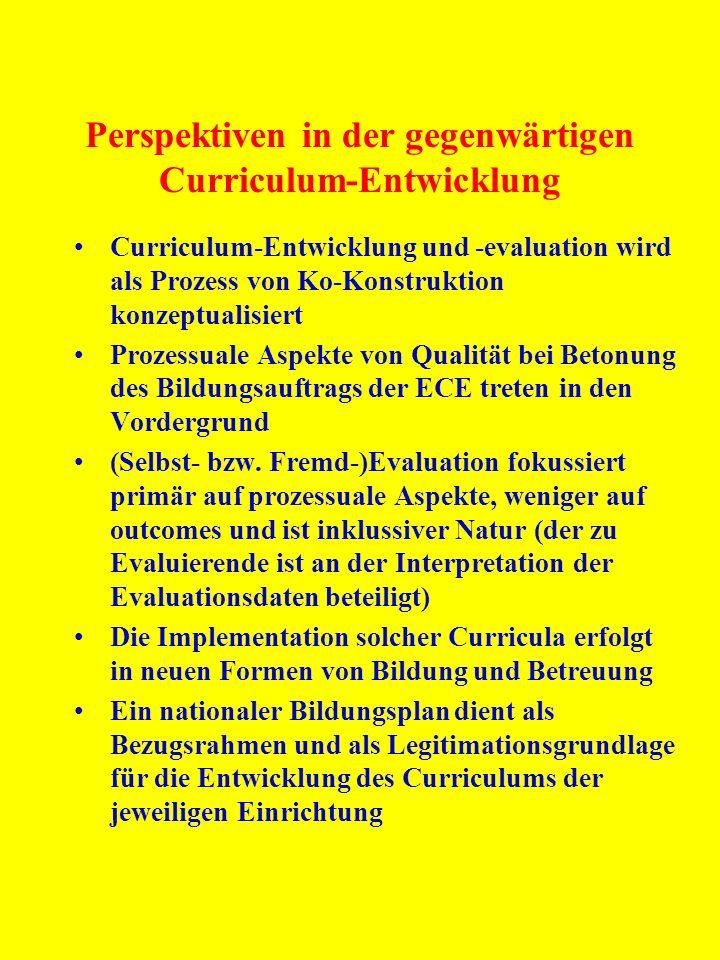 Perspektiven in der gegenwärtigen Curriculum-Entwicklung