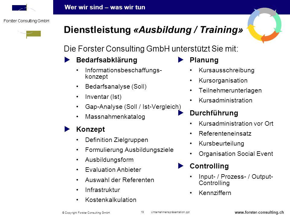 Dienstleistung «Ausbildung / Training»