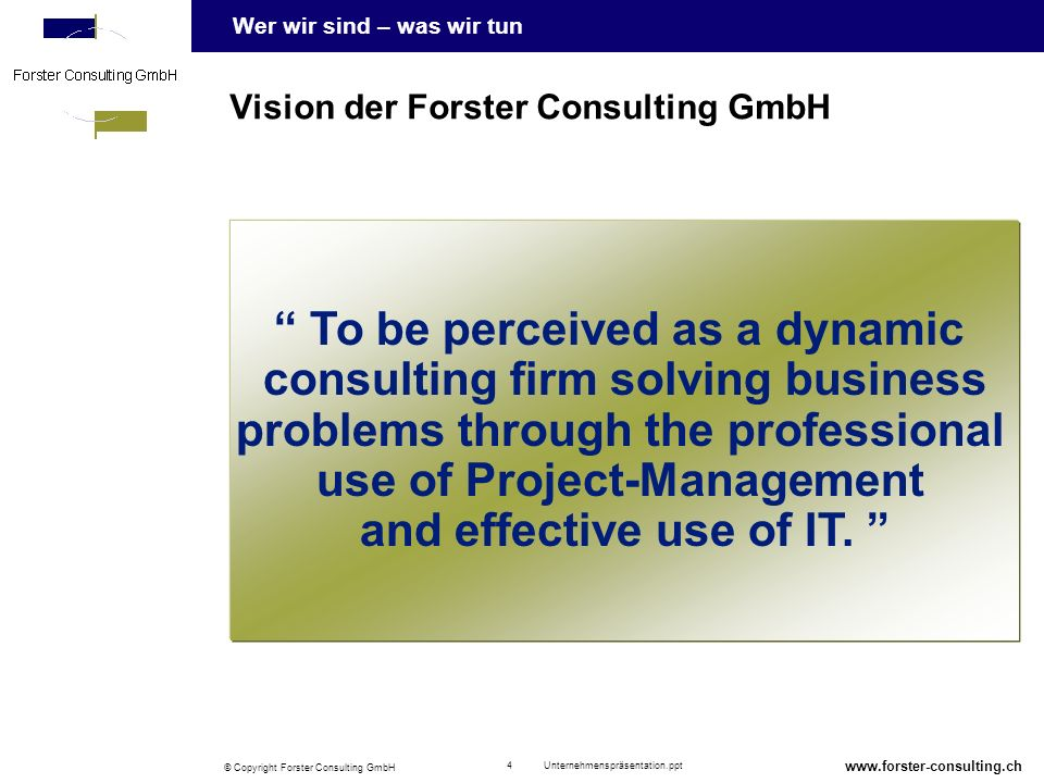 Vision der Forster Consulting GmbH