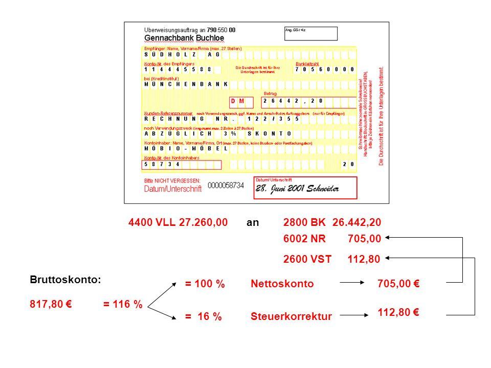 4400 VLL 27.260,00 an. 2800 BK 26.442,20. 6002 NR 705,00. 2600 VST 112,80. Bruttoskonto: