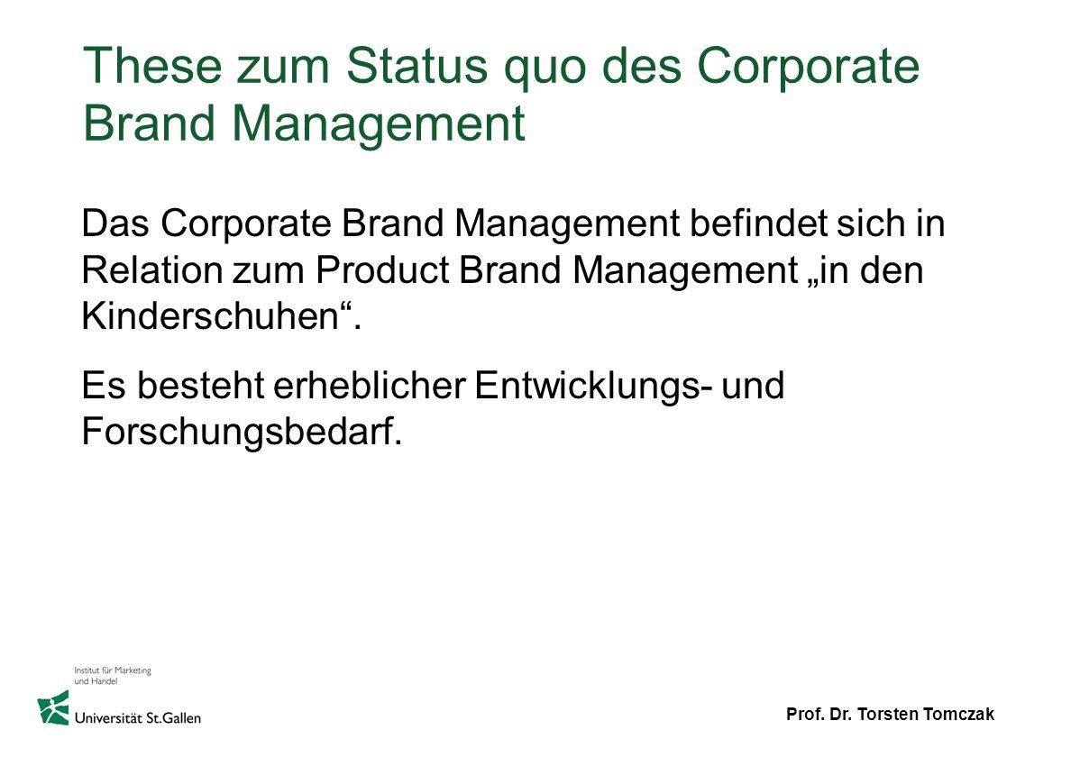 These zum Status quo des Corporate Brand Management