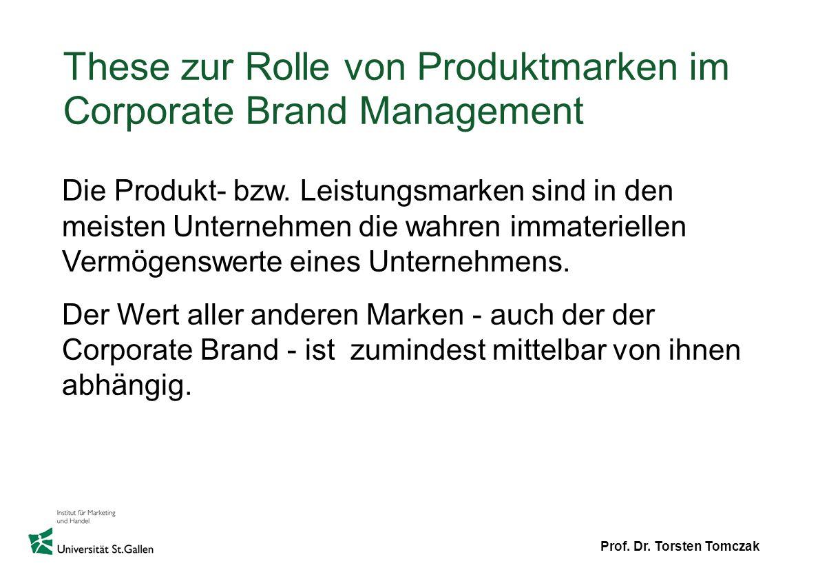 These zur Rolle von Produktmarken im Corporate Brand Management