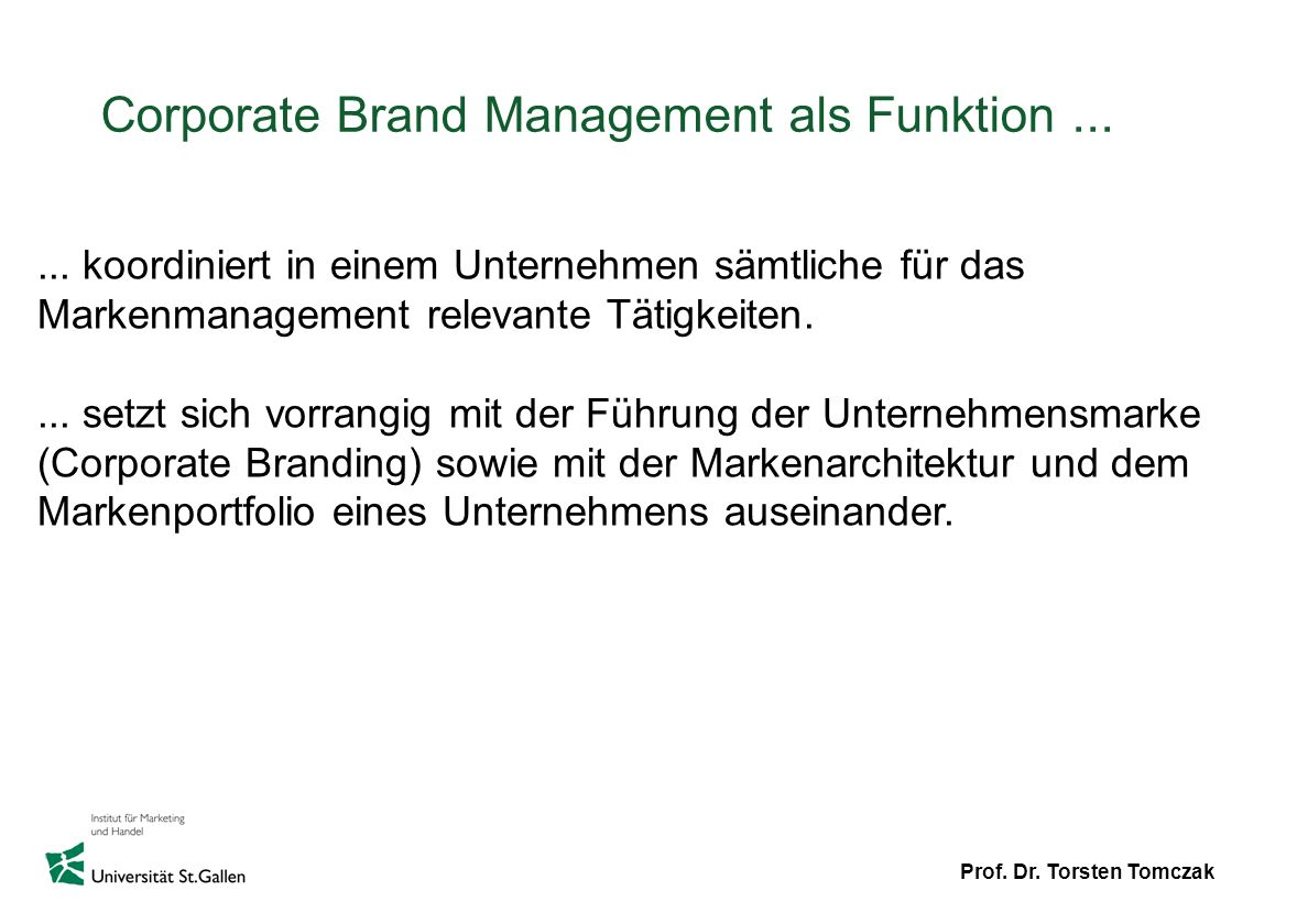 Corporate Brand Management als Funktion ...