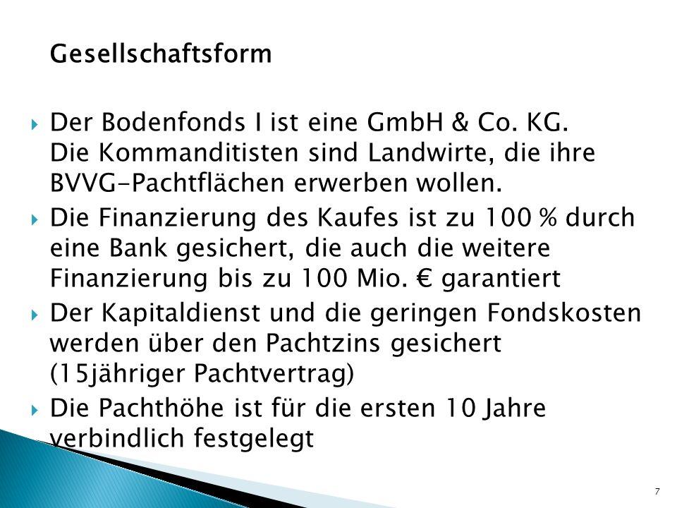 Gesellschaftsform Der Bodenfonds I ist eine GmbH & Co. KG. Die Kommanditisten sind Landwirte, die ihre BVVG-Pachtflächen erwerben wollen.