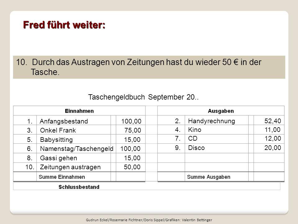 Fred führt weiter: 10. Durch das Austragen von Zeitungen hast du wieder 50 € in der Tasche. Taschengeldbuch September 20..